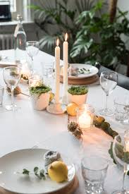 a spring tablescape with lemons