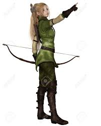 fantasy illustration of a blonde female elf archer with bow and