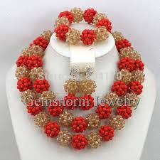 gold beaded necklace set images Luxury red champagne gold african beaded jewelry set nigerian jpg