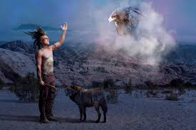 indian legend with wolf and eagle stock image image of