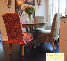 dining room cozy patterned parsons chair slipcovers decor with