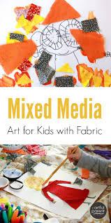 kids mixed media art creativity inspired by fabric scraps