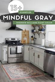 blue kitchen cabinets grey walls 15 rooms with mindful gray by sherwin williams kitchen