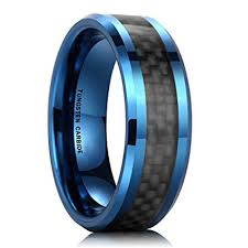carbon fiber wedding rings 8mm unisex or s tungsten wedding band ring blue tone with