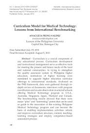curriculum model for medical technology lessons from international u2026