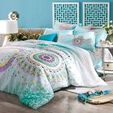 Black And Purple Comforter Sets Queen Turquoise Aqua Blue Purple And Yellow Bohemian Tribal Style Circle