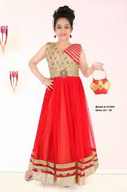 indian ethnic designer red u0026 gold long gown party wear for girls