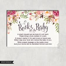 bring a book baby shower floral books for baby insert card flower baby shower