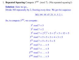 discrete mathematics repeated squaring techniques mathematics
