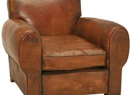rugged and handsome vintage french original leather club chair w