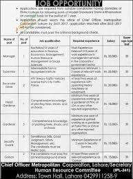 chief officer metropolitan corporation vacancies in lahore 9th
