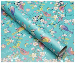 beautiful wrapping paper whsmith melodie turquoise birds blossom foi whsmith
