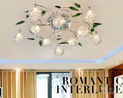 crystal leaves aluminium glass balls shade ceiling light pendant