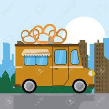 pretzel delivery pretzel truck fast food delivery transportation creative icon