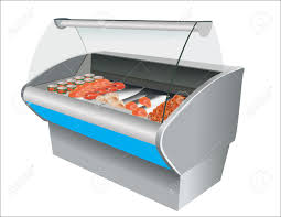 Sho Gaviar fresh cool fish shrimp and caviar in refrigerator in a shop royalty