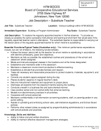 Substitute Teacher Job Description For Resume Teacher Job Description Resume Cbshow Co