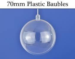 3 premium 70mm fillable two part transparent plastic christmas