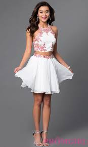 two piece short white and red party dress promgirl