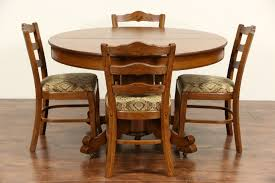 sold oak 4 u0027 round 1910 antique carved pedestal dining table 6