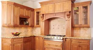 Kitchen Cabinets With Sliding Doors by Varnished Brown Wooden Kitchen Cabinet Combined With Stove Also