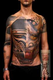 neo japanese style colored chest and belly of demonic mask