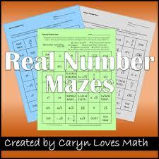 rational number maze irrational integers naturals worksheets
