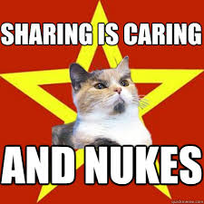 Sharing Meme - sharing is caring and nukes cat meme cat planet cat planet