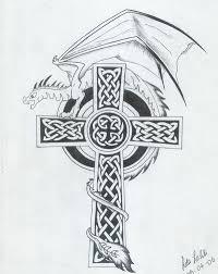 tattoo cross dragon dragon and celtic cross tattoo design