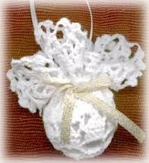 doily wrapped ornaments