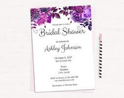 bridal shower invitation gold template black and purple bridal