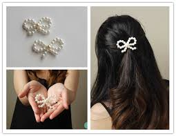 how to make diy pearl bead bow hair accessories diy tag