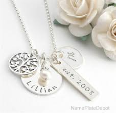 personalized family necklace silver family tree necklace with names and genuine pearl