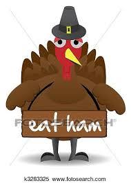 clipart of unhappy thanksgiving turkey bird stands alone k3283325