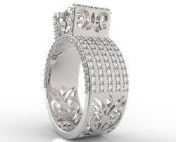 band engagement ring custom wide band princess cut engagement ring vidar