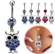 best bell rings images Best quality kawaii owl belly button rings mix 316l surgical steel jpg