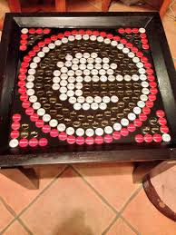 beer cap table top bottle cap table so cute you could make any team logo you want