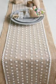 natural burlap table runner 12 14 wide burlap and polka dot lace table runner romantic