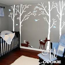 Etsy Wall Decals Nursery Birch Trees Birds And Fawns Wall Decal Birch Wall Decals And