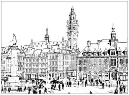 france lille architecture and living coloring pages for adults