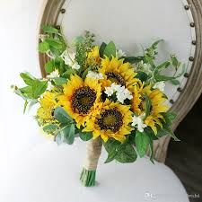sunflower delivery yellow green mori wedding bridal bouquets 2017 sunflowers