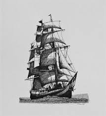 drawn sailing ship old pencil and in color drawn sailing