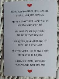Wedding Gift Registry Wording Wedding Poem Money As A Gift Since We Already Have Combined Our