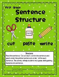 sentence structure cut paste write 1st grade activities