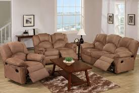 Living Luxuriously For Less by Kladno 3pc Motion Recliner Living Room Set In Saddle Microfiber