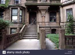 boston back bay brownstone apartment buildings stock photo