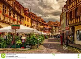street in obernai village alsace france editorial stock image