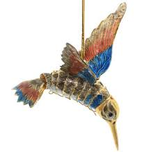 blue and orange articulated cloisonne hummingbird ornament animal