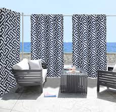 Outdoors Shower Curtain by Greek Key Deep Navy Indoor Outdoor Grommet Panel