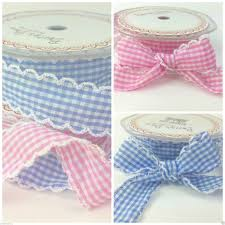 gingham ribbon scallop edge fabric gingham ribbon 25mm wide per metre for sewing