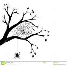 halloween tree branch and spider web stock vector image 61333656
